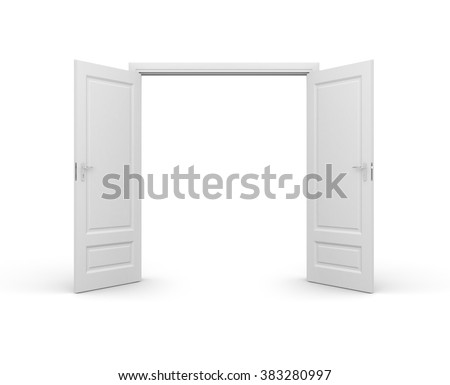 Opened door isolated on white - stock photo
