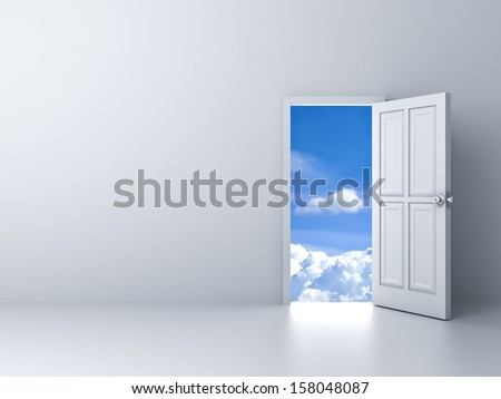 Opened door to blue sky with empty white wall background - stock photo
