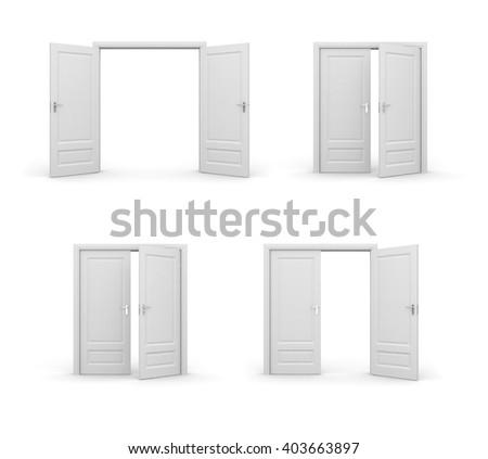 Opened doors. 3d illustrations set - stock photo