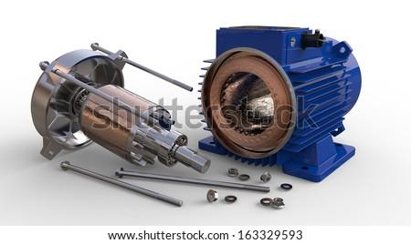 Opened electric motor isolated on white background - stock photo