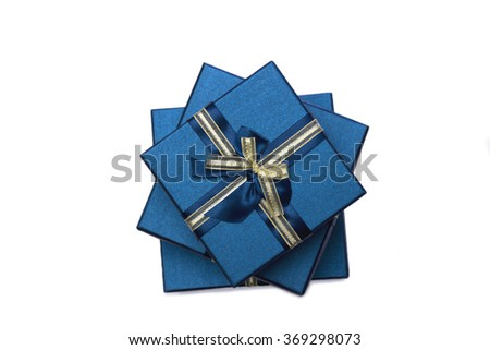 Opened empty blue gift box with a bow on a white background - stock photo