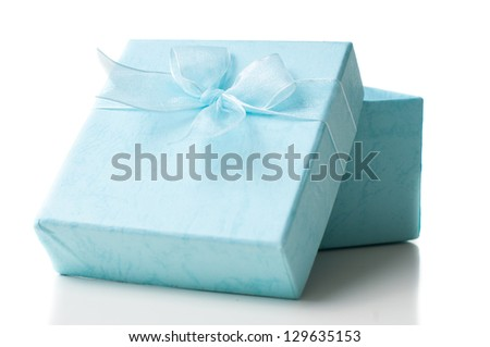 Opened empty blue gift box with a bow on a white background, isolated, close-up - stock photo