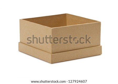 Opened empty cardboard box with lid off on white background - stock photo