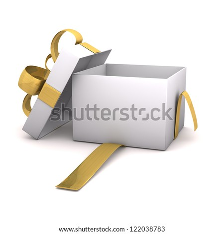 Opened empty gift carton with golden ribbons on the white background. - stock photo