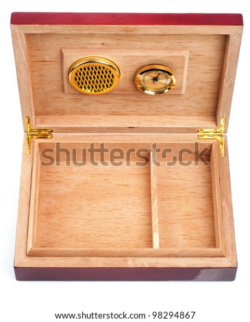 Opened empty humidor isolated on white background - stock photo