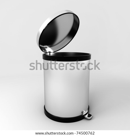 Opened empty modern trash can - stock photo