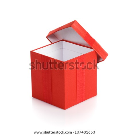 Opened empty red gift box with lid on white background - stock photo