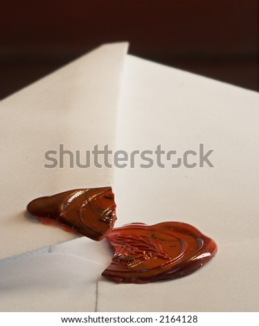 Opened envelope, with the seal broken - stock photo