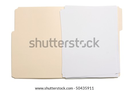 Opened file folder with white paper inside. - stock photo