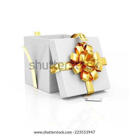 Opened Gift Box with Golden Ribbon and Bow isolated on white background - stock photo