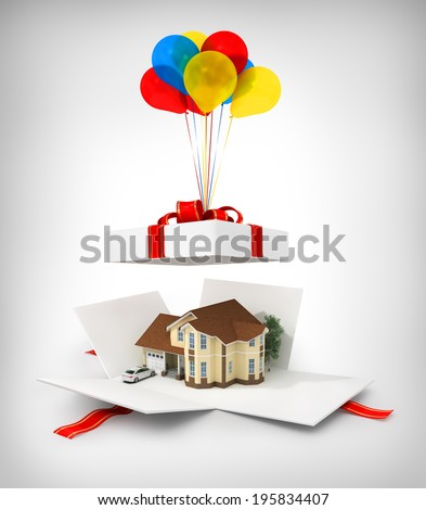 Opened gift with house on the white background. - stock photo