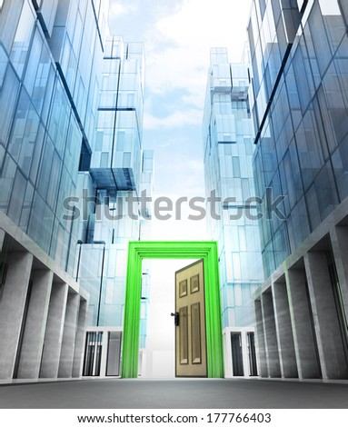 opened green door frame in new modern business city street illustration - stock photo