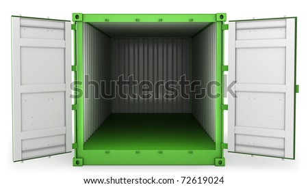 Opened green freight container isolated on white background, front view - stock photo