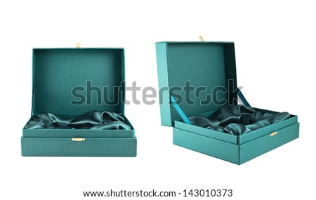Opened green silk case box with a satin cloth inside isolated over white background, set of two foreshortenings - stock photo