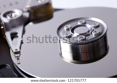 opened hard disk drive - stock photo