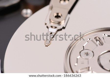 opened hard disk drive close-up macro view - stock photo