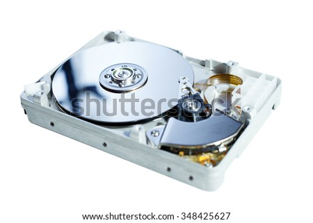 Opened HDD drive isolated on white surface. - stock photo
