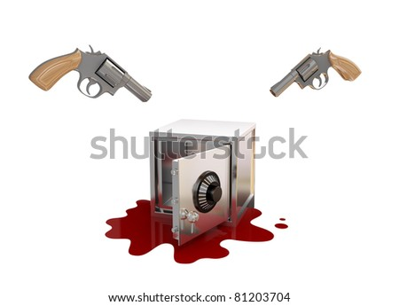Opened iron safe, two revolvers and bloody. 3d rendered. Isolated on white background. - stock photo