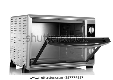 Opened kitchen oven, isolated on white - stock photo