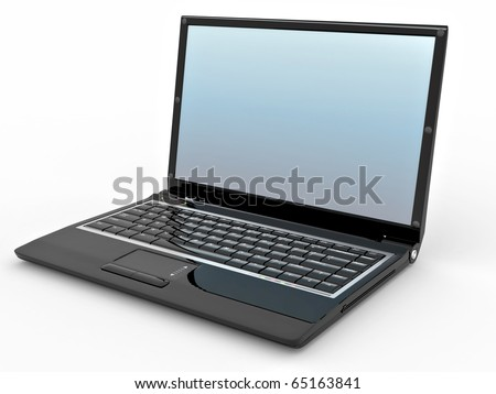 Opened laptop on white isolated background. 3d - stock photo