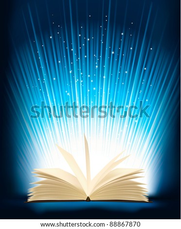 Opened magic book with magic light. Raster version of vector. - stock photo