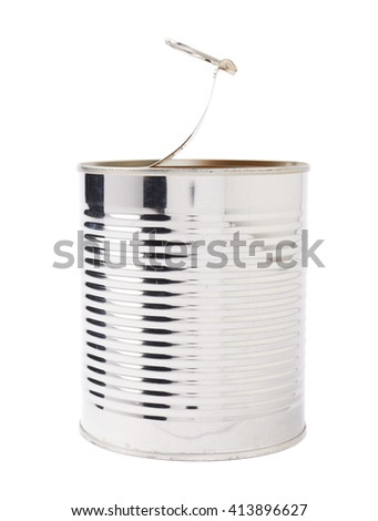 Opened metal can isolated over white background - stock photo
