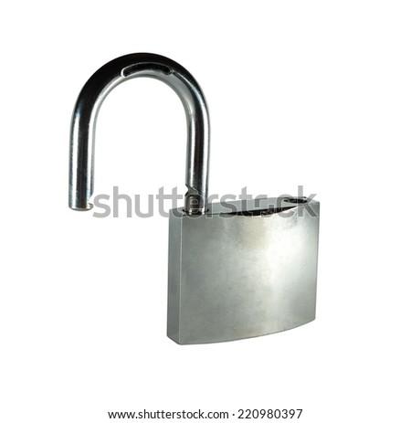 Opened metal padlock isolated on white background - stock photo