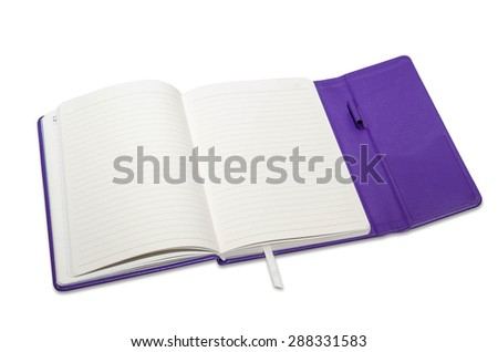 Opened notepad and white background - stock photo