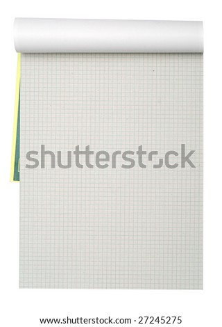 Opened notepad isolated on a white - stock photo