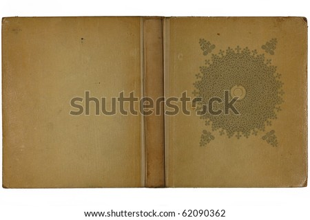 Opened old book cover isolated on a white background - stock photo