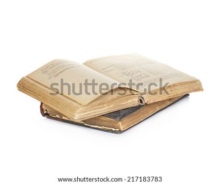 Opened old vintage book isolated on white background - stock photo