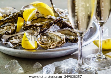 Opened Oysters  - stock photo