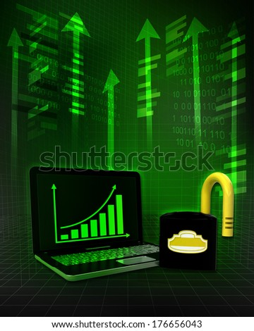 opened padlock with positive online results in business illustration - stock photo