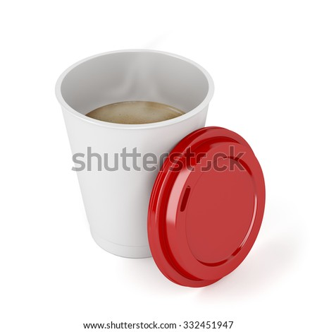 Opened paper coffee cup on white background - stock photo