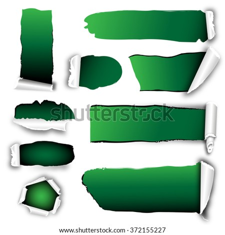 opened paper with green background - stock photo