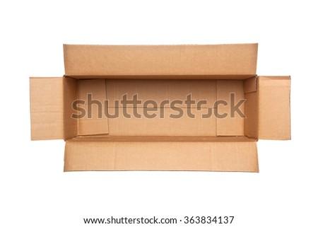 Opened rectangular cardboard box isolated on white background - stock photo