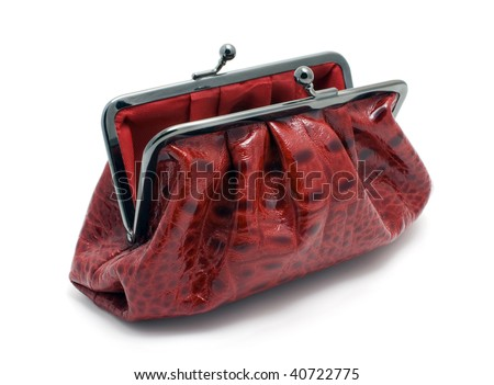 opened red clutch bag - stock photo