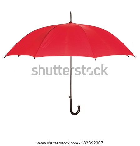 Opened red umbrella isolated over white - stock photo