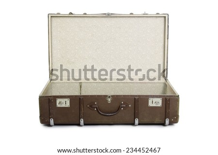 Opened retro suitcase isolated over a white background. - stock photo