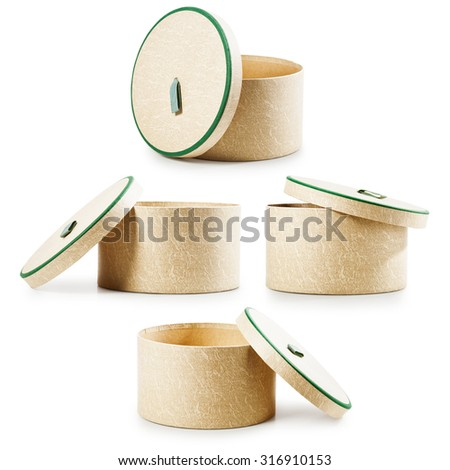 Opened round gift boxes collection. Holiday present. Objects isolated on white background - stock photo
