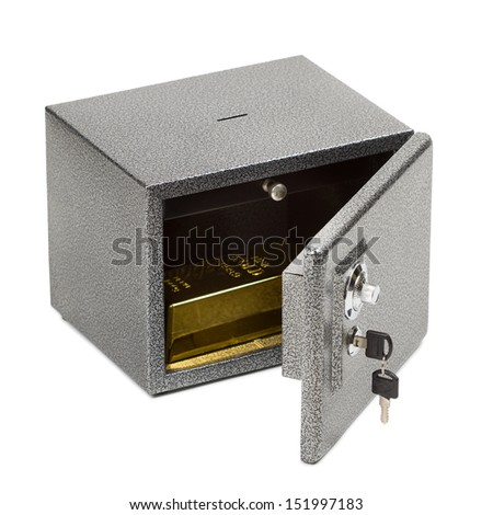 Opened safe with golden piece inside. Isolated on white. - stock photo