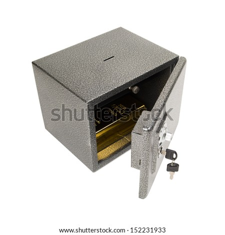 Opened safe with golden piece inside. Keeping the finances (money, gold) safe concept. Isolated on white. - stock photo