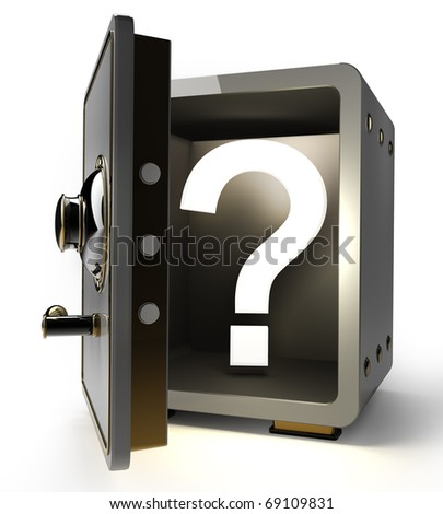 Opened safe with question mark isolated on white background. 3d render - stock photo