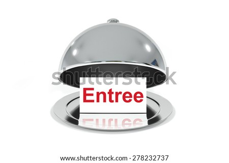 opened silver cloche with white sign entree isolated - stock photo