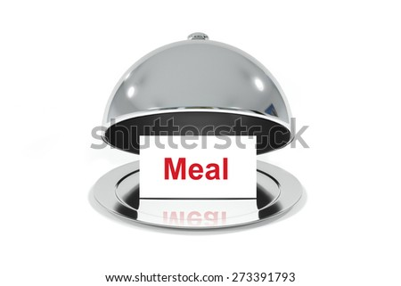 opened silver cloche with white sign meal isolated - stock photo