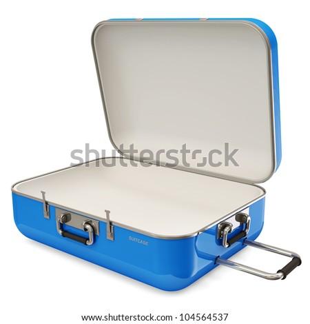 Opened Suitcase isolated on white background - stock photo