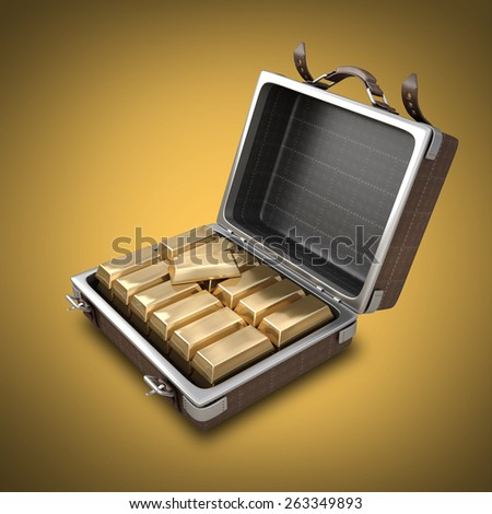 Opened Suitcase with Golden Bars inside.  High resolution 3D  - stock photo