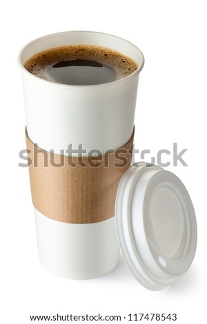 Opened take-out coffee with cup holder. Isolated on a white. - stock photo