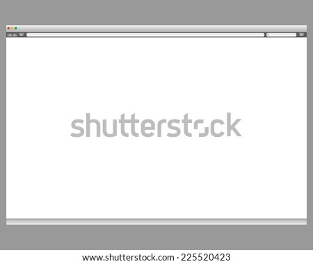 Opened template. Grey website display bar isolated. Navigation button forward, back, home, search, menu. Business concept commerce site. Background interface. Past content abstract illustration - stock photo