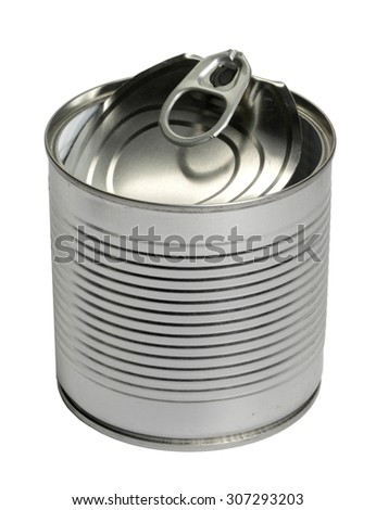 opened tin isolated on white - stock photo